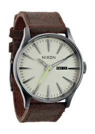 Montre Nixon The SENTRY LEATHER gunmetal brown
